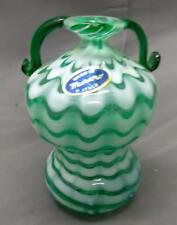 Vintage Murano Italian Art Glass Two handled Green White Vase Made in Italy