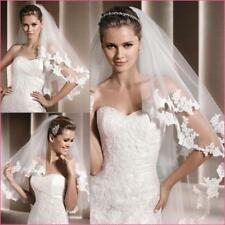 2T 80cm Elbow Wedding Veils Lace Edge Bridal Veil With Comb Accessories 0306