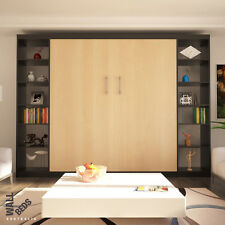 Wall Bed - Alpha Flat Pack (with x 2 side bookcases) - Murphy Bed