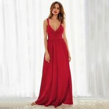 Red Color Lace Material Pleated High Waist Deep V Neck Dress for Women
