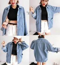 Womens Oversize Retro Korean Boyfriend Style Jacket Denim Loose Casual Jean Coat