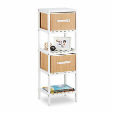 White Shelving Unit, Bathroom Rack Wooden Drawer Unit w/ 4 Bamboo Storage Boxes