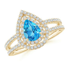 Split Shank Pear Swiss Blue Topaz Diamond Double Halo Ring
