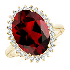 7.53 ct Diamond Halo Vintage Style Oval Garnet Cocktail Ring 14K Yellow Gold