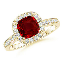 1.2 ct Cushion-Cut Ruby Diamond Halo Engagement Ring 14K Yellow Gold