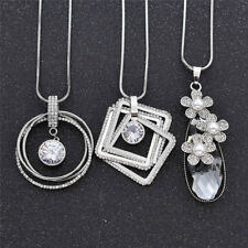 Crystal Sweater Chain Polycyclic Necklace Silver Long Pandant Sweet Jewellery