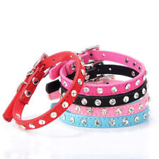 Bling Rhinestone Small Dog Collar PU Leather Dog Collars Puppy Pets Perro