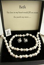 Freshwater Pearl Necklace Bracelet Sterling Silver Beads Clasp & Stud Earrings.