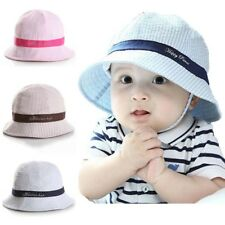 Infant Baby Boys Girls Toddle Cotton Bucket  Pots Cap Summer Striped Sun Hat Hot