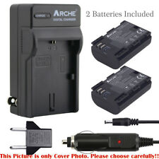 ARCHE (2) Battery and Charger for CANON LP-E6 LP-E6N and Mark ll EOS 7D 6D 5DS R