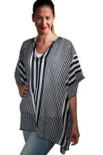 Plus Size Womens Striped Kaftan Dress Long Caftan Top  Beaded Tunic Boho Beach