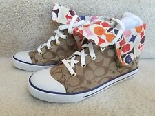 COACH BONNEY RED MULTI NAVY COLLAR SNEAKERS SHOES 9.5 NEW IN BOX