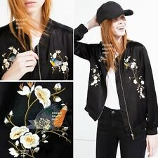 LOOSE FLORAL EMBROIDERED BOMBER JACKET Womens Oriental Embroidery Satin Baseball