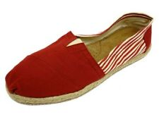 LADIES FLAT RED STRIPE SLIP-ON HOLIDAY COMFY ESPADRILLE PUMPS CASUAL SHOES 3-8