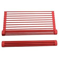Kitchen Sink Dish Drying Rack Silicone Roll-up Dish Over the Sink Kitchen Red