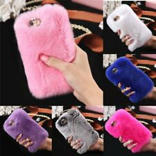 Stylish Warm Soft Faux Furry Fur Diamond Phone Case Cover For iPhone Phones GD