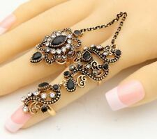 Vintage Flower Adjustable Size Colorful Gold Color Two Fingers Ring For Women