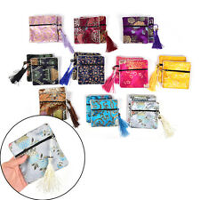 1 Pc Tassel Packaging Bag Floral Fabric Coin Purse Bag Silk Brocade Jewelry