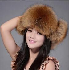 New Womens Ladies Real Fox Fur Hat Russian Ushanka Lamb Leather Top Warm Winter