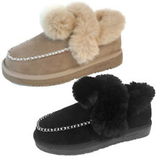 Womens Fleece Pull On Flats Warm Fur Round Toe Snow Ankle Boots Non-slip Shoes