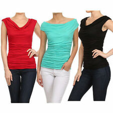 USA Women Solid Ruched Cowl Neck Cap Sleeve Jersey Shirt Blouse Rayon Work Top