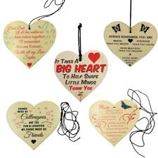Heart Natural Wooden Hanging Plaque Sayings Shabby Chic Sign Family Friends Gift