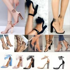 Womens High Block Heels Shoes Clear Ankle Strappy Peep Toe Sandals Ladies Party