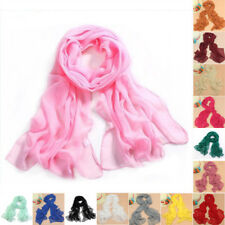 Womens Girl Chiffon Candy Colors Long Crinkle Scarf Wrap Voile Wraps Stole Shawl