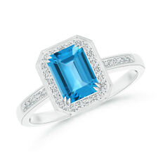 Emerald Cut Swiss Blue Topaz Engagement Ring With Diamond Halo 14K White Gold