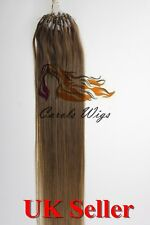 """20"""" 1g 12 Double Drawn Indian Remy Loop Micro Ring Human Hair Extension UK 1st"""