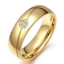 Gold color Wedding Stainless Steel  Cubic Zircon Ring for Women