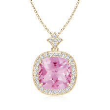 """3.21 ct Pink Tourmaline Diamond Pendant Necklace with 18"""" chain 14K Yellow Gold"""