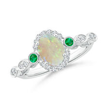 Oval Opal and Diamond Halo Ring with Bezel Set Emerald 14K White Gold