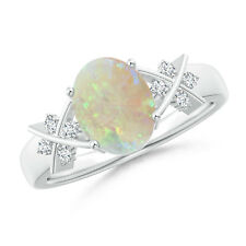 Solitaire Oval Opal Criss Cross Ring with Diamonds 14K White Gold
