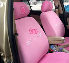 10 PCs Hello Kitty Pink Car Seat Covers Front Rear Cover Accessory Set
