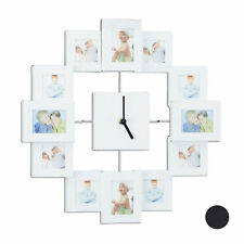 Wall Clock with Picture Frames, Photo Clock - Fill Your Own Pictures, Aluminium