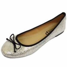 LADIES FLAT GLITTER SLIP-ON SHOES DOLLY COMFY BALLET BALLERINA CASUAL PUMPS 3-8