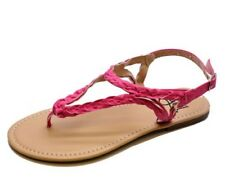 GIRLS KIDS CHILDRENS PINK TOE-POST GLADIATOR SANDALS SUMMER SHOES SIZES 11-4
