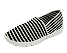 LADIES BLACK WHITE SLIP-ON MEMORY FOAM COMFORT WALKING TRAINER PUMPS SHOES 3-8