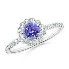 Vintage Tanzanite Flower Ring with Diamond Accents 14k White Gold