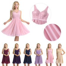 Women V Neck Lace Floral Cocktail Prom Party Bridesmaid Wedding Formal Dress