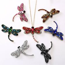 New Women Retro Crystal Dragonfly Necklace/Brooch Pin Pendant Long Chain Jewelry