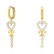 14k Yellow Gold Created Diamond Heart Filigree Dangle Huggie Hoop Earrings