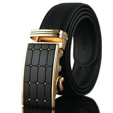 Mens Belt Smooth Automatic Metal Buckle Solid Genuine Leather Waistband Strap
