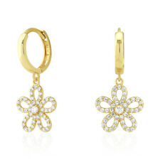14k Yellow & White Gold Created Diamond Flower Dangle Huggie Hoop Earrings