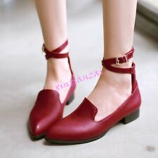 Womens Pointy Toe Flats Ankle Strap Pumps Oxfords Shoes Mary Janes Spring New