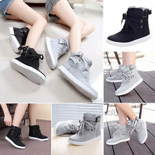 Winter Women Ankle Boots Flats Buckle Lace-Up Canvas Shoes Martin Boots Comfy