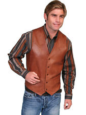 Scully Leather Mens Antique Brown Lambskin Button Front Vest