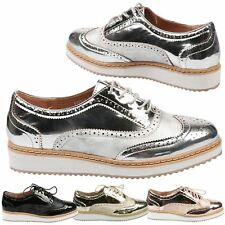 WOMENS LADIES LACE UP METALLIC PLATFORM WEDGES FLAT BROGUES LOAFERS CREEPERS