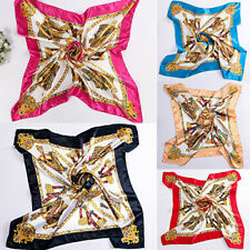 Square Women Imitated Silk Satin Carriage Chain Neck Head Scarf Shawl Great